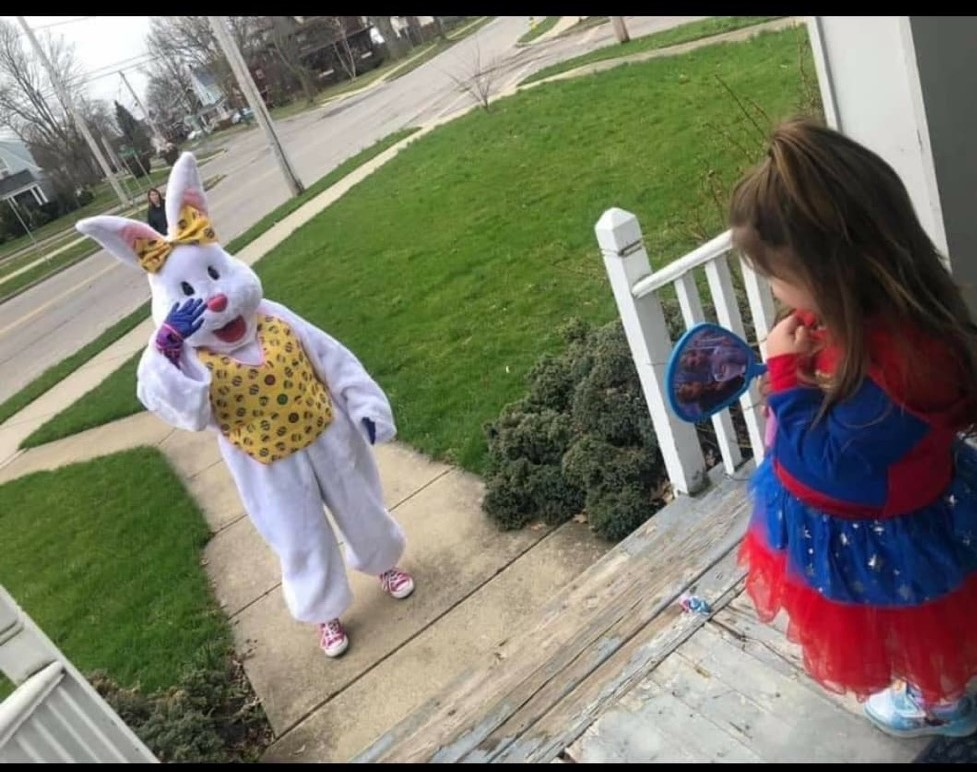 The Easter Bunny pays a surprise visit to a local child. (Photo submitted by Gina Streck)