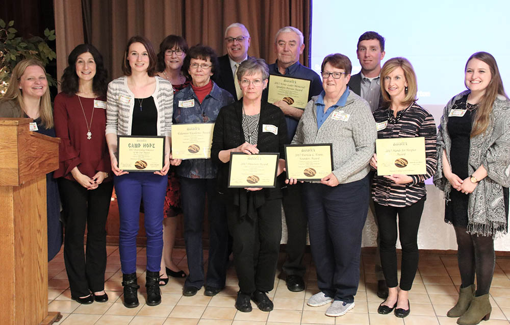 Pictured, from left, at the Niagara Hospice Volunteer Awards & Appreciation Dinner are Melissa Harris, Maureen Rizzo, Vandra Ruppel, Tricia Degan, Barbara Reed, Frank Maietta, Mary Dixon, Gregory Hood, Barbara Jesz, Adam Burns, Lori Burns and Lisa Schmidt.