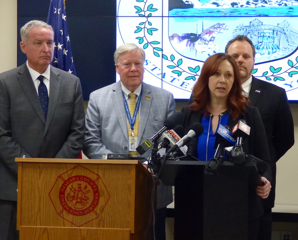Niagara County Legislature Chairwoman Becky Wydysh addressed the media at a press conference Sunday (as shown), and again Wednesday.