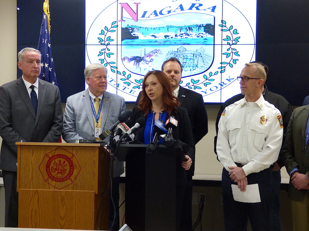 Niagara County Legislature Chairwoman Becky Wydysh addresses the media.