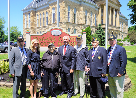 Pictured, from left: Don (Doc) MacSwan; U.S. Army; Katie L. Graves, U.S. Air Force; Anthony Moley, U.S. Army; Niagara County Clerk Joseph Jastrzemski; Frank Jastrzemski, U.S. Army; Niagara County Legislature Vice Chairman Clyde Burmaster, U.S. Army; and Niagara County Legislator Dave Godfrey, U.S.M.C.
