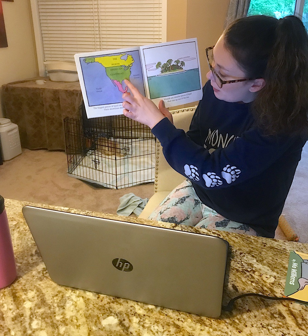 Kindergarten teacher Jessica Dubke educates students inside her virtual classroom. (Submitted photo)