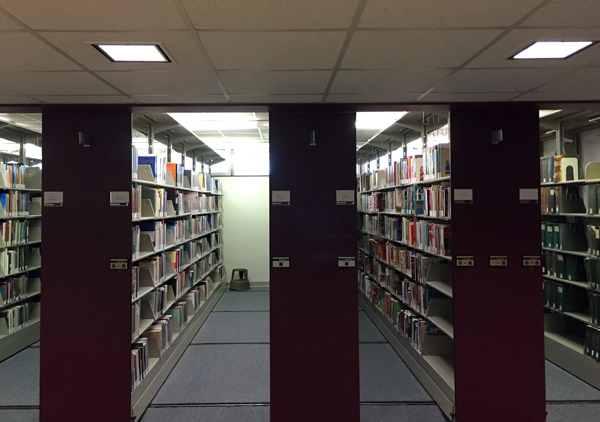Sunlight pours through the windows at Niagara University Library's newly organized basement.