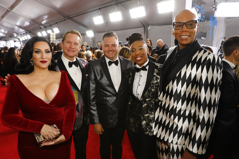 From left, Michelle Visage, Carson Kressley, Ross Mathews, Lena Waithe and RuPaul arrive at the 69th Primetime Emmy Awards on the CBS Television Network. `RuPaul's Drag Race` has become a cultural phenomenon in recent years, expanding the role of the LGBTQ+ community in the media. (CBS photo by Trae Patton/©2017 CBS Broadcasting Inc.)