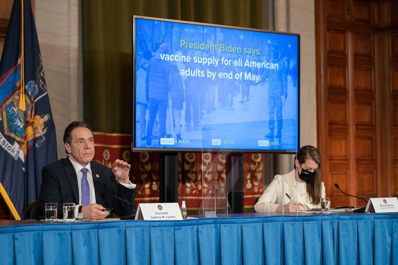 Gov. Andrew Cuomo issued an apology Wednesday at the end of his coronavirus update from the Red Room at the State Capitol. (Photo by Don Pollsrd/Office of Gov. Andrew M. Cuomo)