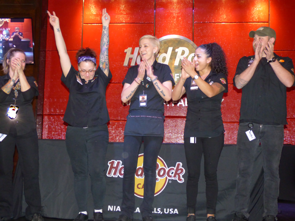 Brandie Harrison reacts after winning the BARocker competition at the Hard Rock Cafe, Niagara Falls USA.