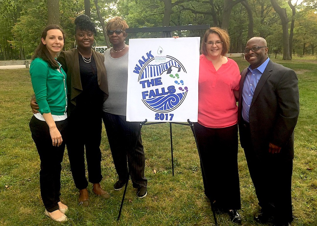 From left: Krista Ehasz, project co-chair; Keyona Dunn, Evelyn Harris, Sarah Obot and Brian Archie, co-chairs for Create A Healthier Niagara Falls Collaborative. They posed together after announcing their first major event.