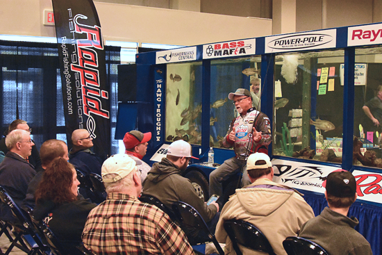Great Lakes angler Hawg Trough leads a seminar at the 2019 show. (Submitted photo)