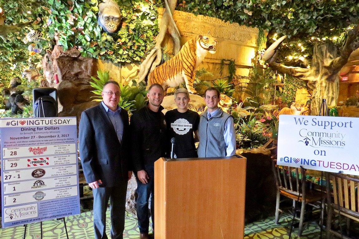 Pictured, from left, at a press conference Monday at Rainforest Café, are Rainforest Café General Manager Clayton Cobb, Power City Eatery owner and General Manager Joseph Hotchkiss, Third Street Retreat, Eatery & Pub General Manager Kallie Castetter and Community Missions Communications and Development Manager Christian Hoffman.