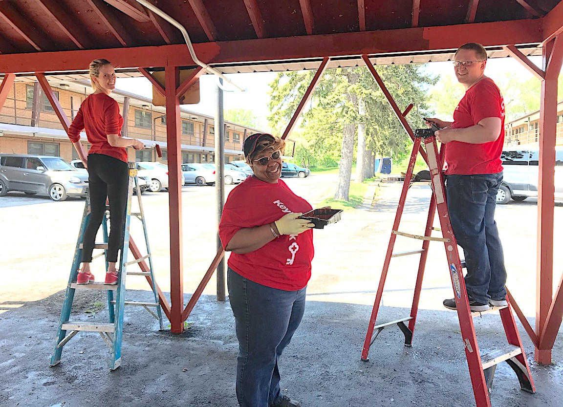 KeyBank volunteers spruce up Community Missions on Buffalo Avenue in Niagara Falls. (Submitted photo)