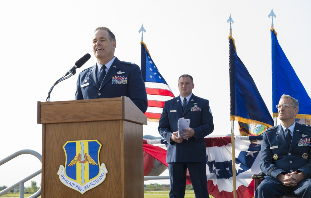 Col. Mark S. Larson addresses the 914th Air Refueling Wing for the first time as commander during a Change of Command ceremony, Sept. 10 at Niagara Falls Air Reserve Station, N.Y. (U.S. Air Force photo by Tech. Sgt. Steph Sawyer)