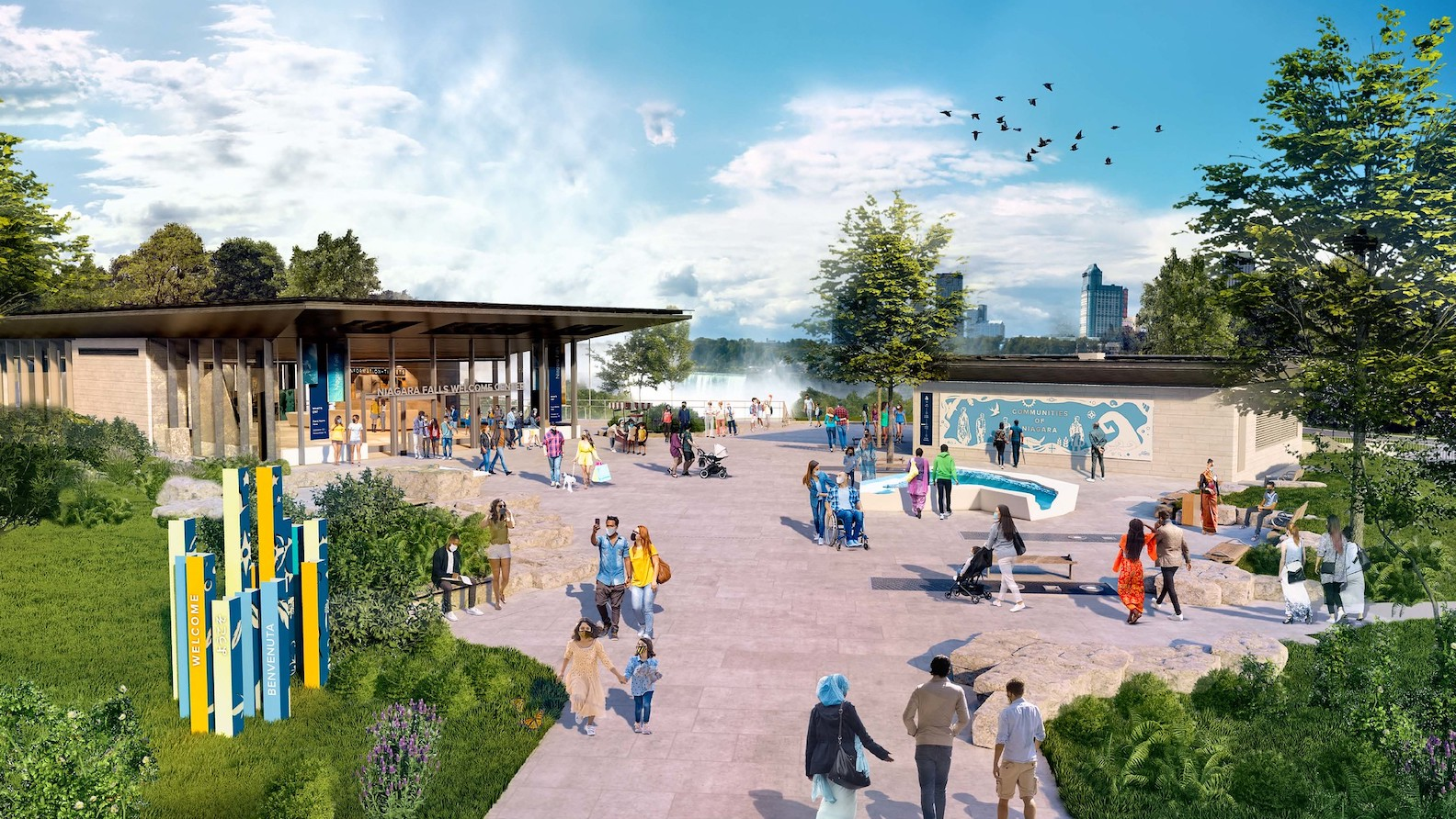 An artist's rendering of a reimagined Niagara Falls State Park welcome center. (Images courtesy of the Office of Gov. Andrew M. Cuomo)