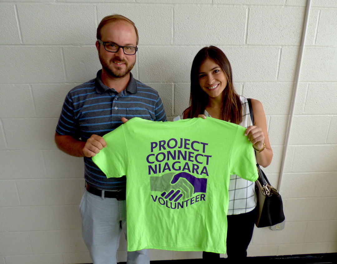 Project Connect Niagara volunteers: Niagara University/Levesque Institute IMPACT/ReNU Director Tom Lowe and Francesca Catanese of Community Missions of Niagara Frontier.