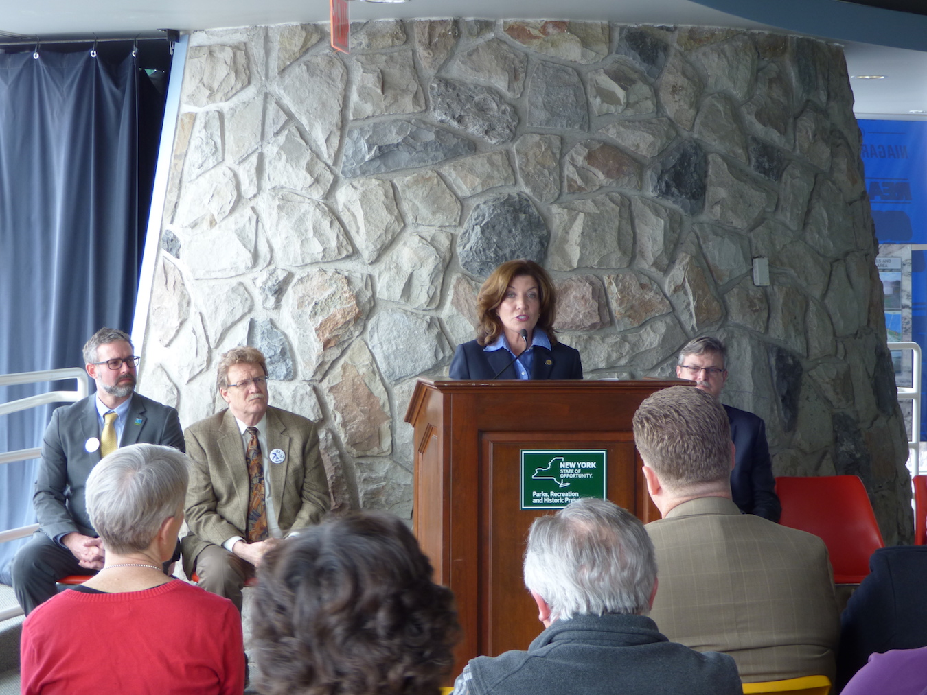 Lt. Gov. Kathy Hochul spoke at Monday's `Restore the Gorge` press conference.
