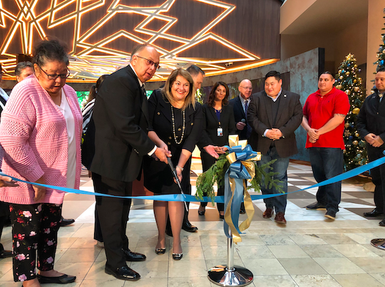Seneca Gaming Corp. and Seneca Niagara Resort & Casino officials cut a ribbon officially opening a new hotel lobby on Tuesday.