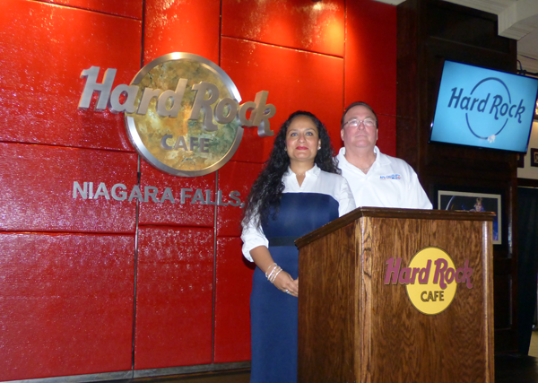 United Way of Greater Niagara Director of Resource Development Erika Kastel and UWGN AFL/CIO labor liaison and campaign coordinator Bill Jakobi spoke Friday about their agency's 2017 financial goal at a press conference Friday at the Hard Rock Cafe, Niagara Falls USA. (Photo by Joshua Maloni)