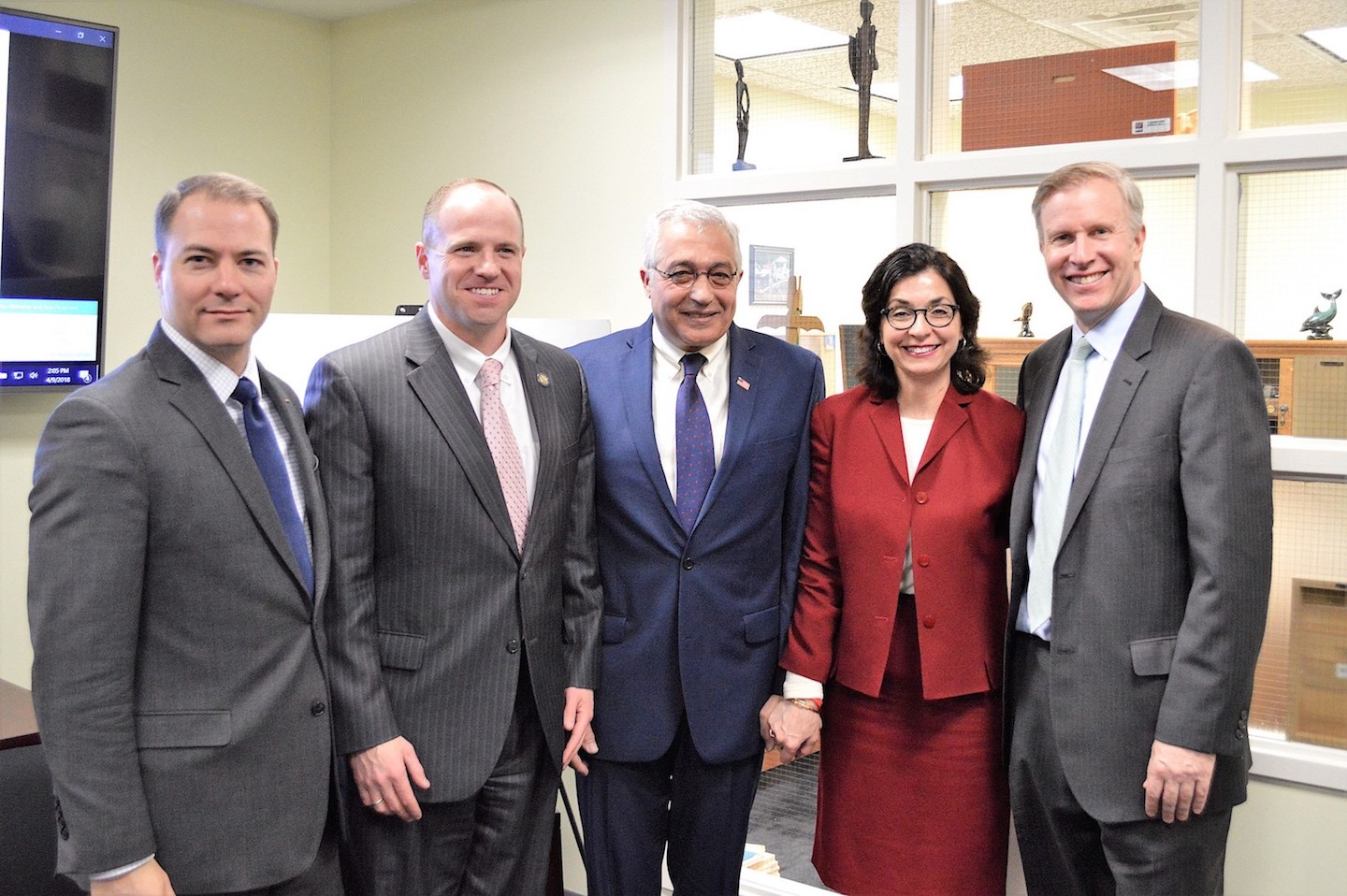 Pictured making the announcement of $450,000 in funding for Save the Michaels of the World are, from left, New York State Sen. Robert Ortt, Sen. Tim Kennedy, Save the Michaels President Avi Israel and his wife, Julie, and Sen. Chris Jacobs.