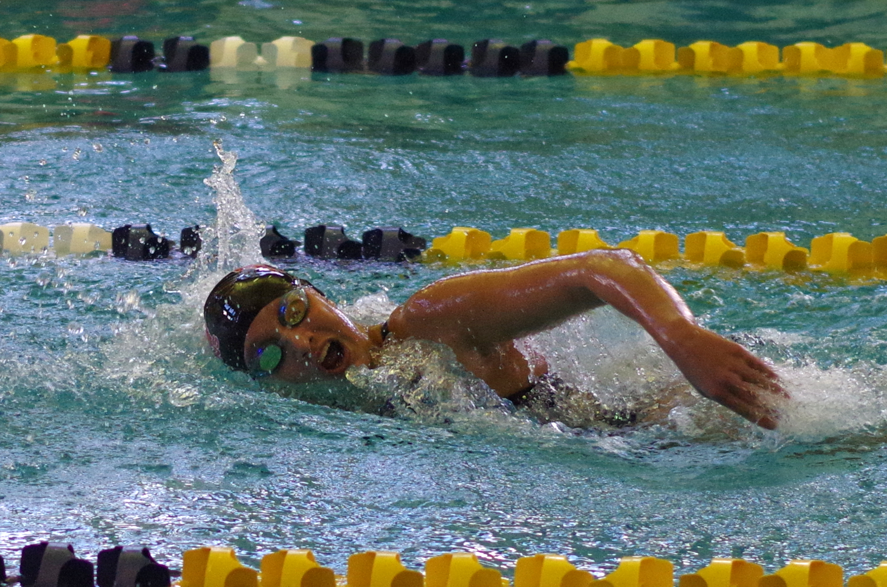 Danielle Carlson swims in the 200-yard freestyle. (Photo by Larry Austin)