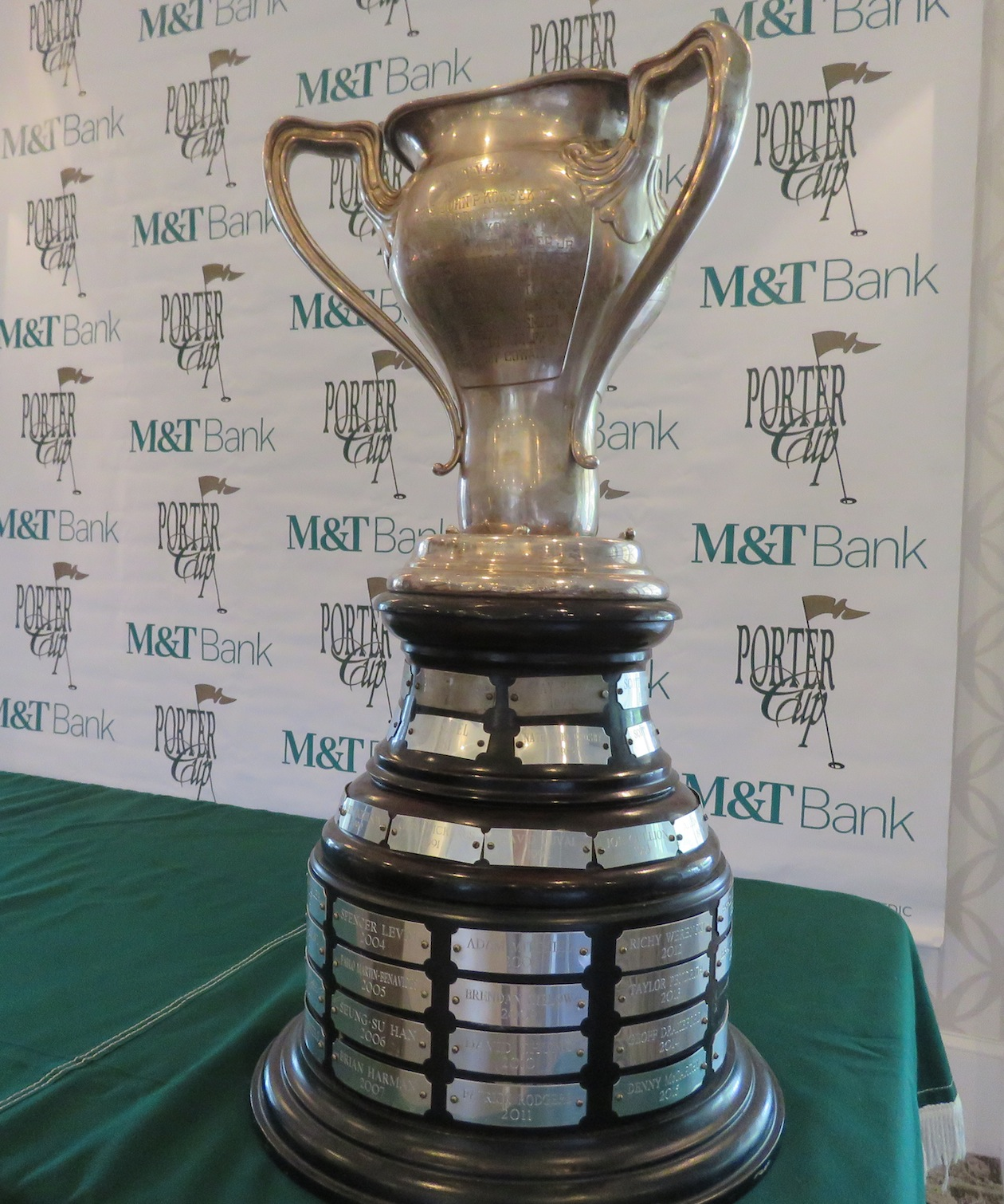 The Porter Cup trophy sits during Tuesday's conference.