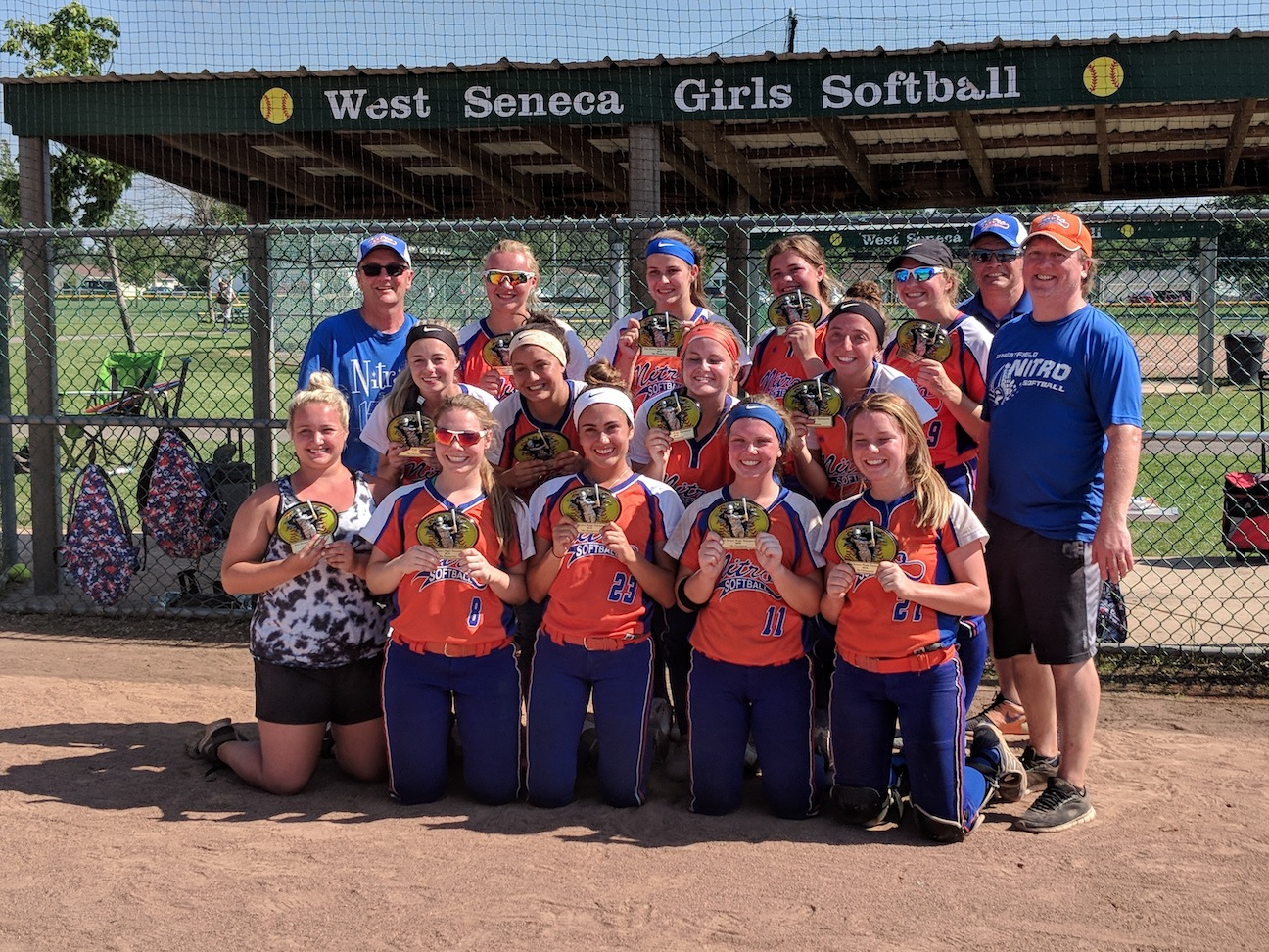 The championship team is pictured, from left, front, coach Ali Gonyea, Julia Mascaro, Jordan Graber, Abby Metzger and Sydney Crangle. Second row: Hanna Muehlbauer, Madison Evarts, Hannah Reid, Tiara Borzillire and coach Tom Metzger. Top row: Manager Chris Crangle, Mackenzie Quider, Bailey Fleischauer, Kaylee Haner, Laney Wieclaw and coach Joe Mascaro. (Photo submitted by Christopher Crangle)