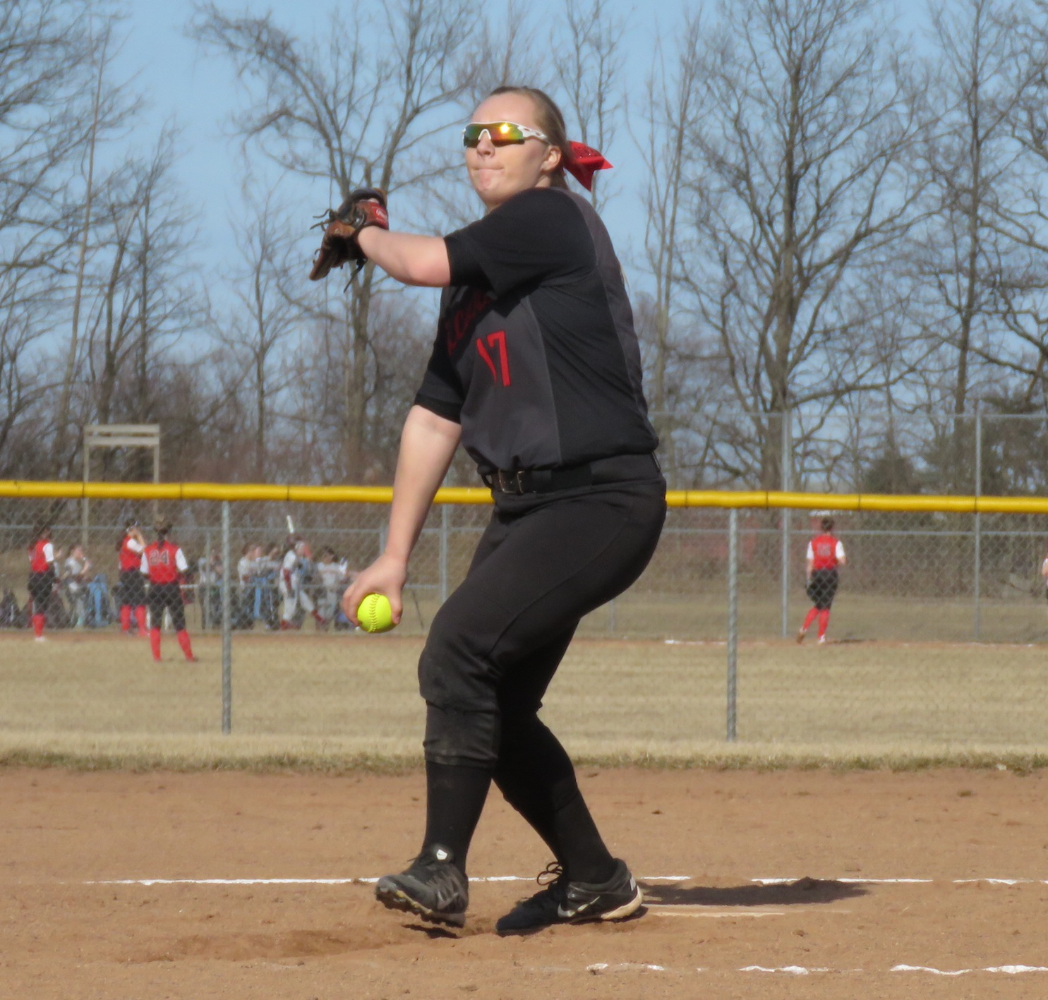 Niagara-Wheatfield senior Mackenzie Quider throws a pitch for the Falcons during the team's scrimmage versus Starpoint last Friday. (Photos by David Yarger)