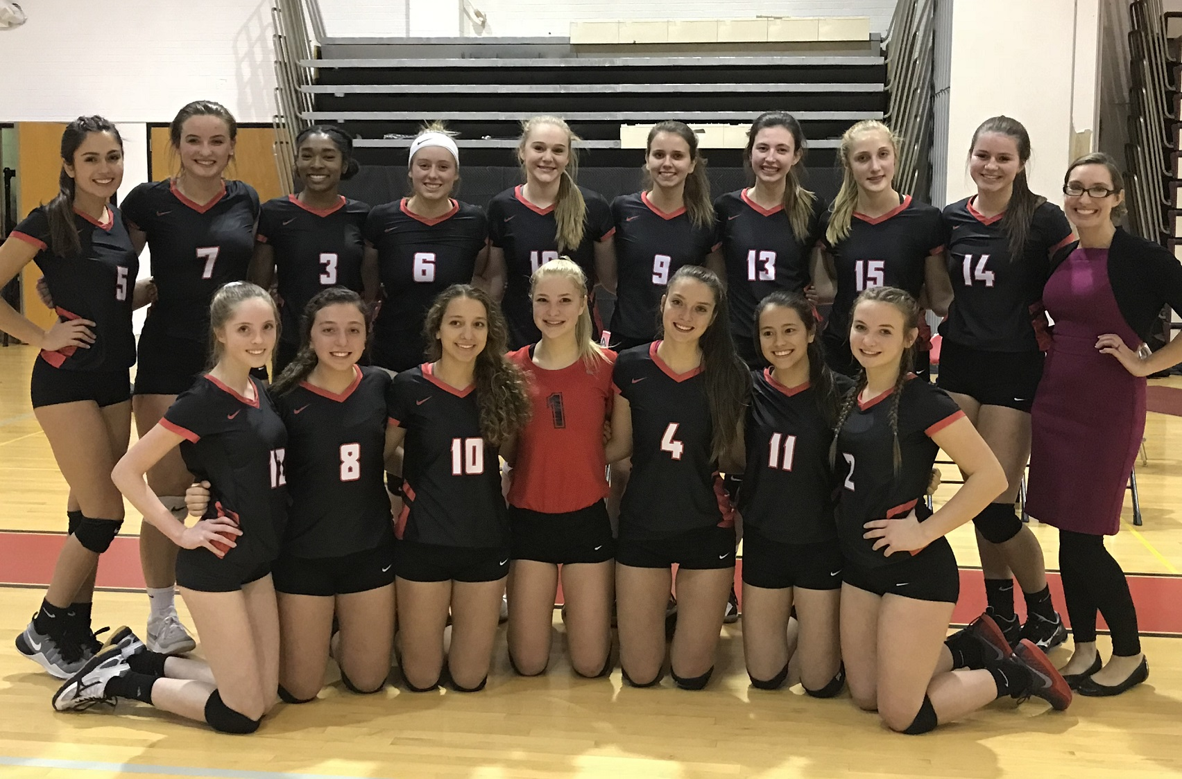The Niagara-Wheatfield girls volleyball team poses after its 3-0 quarterfinal sweep of Sweet Home. (Photo by David Yarger)