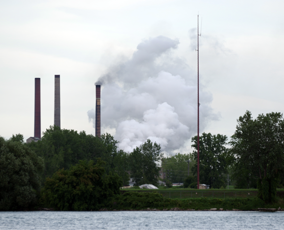 Less than five hours after this photo of Tonawanda Coke was taken from Ferry Village, the company dealt with a fire at its River Road facility. (Photo by Larry Austin)
