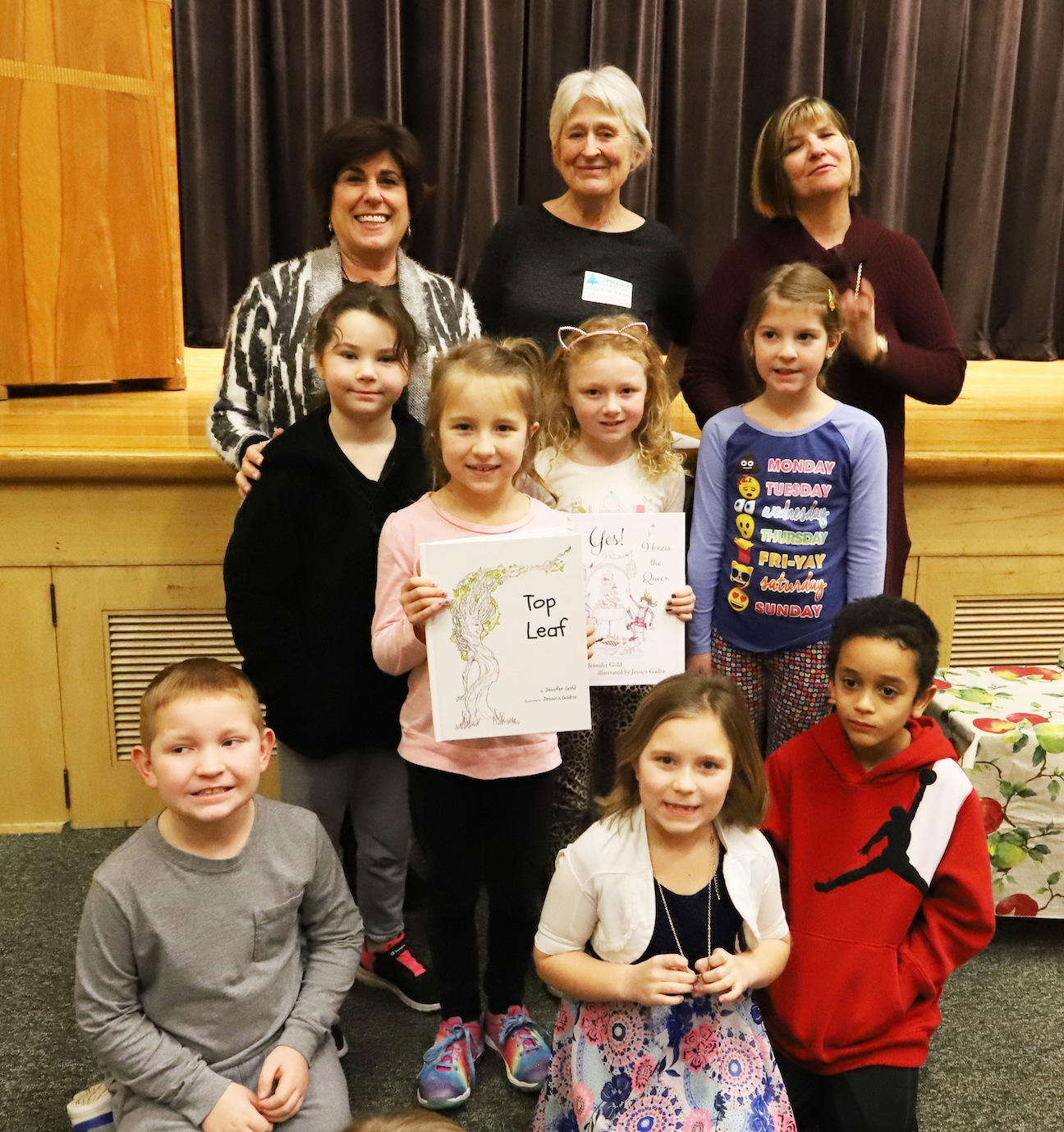 Patti Adler (Spruce Principal), Jennifer Gold (Author), Susan Moore (Second grade teacher/organizer), and Second Grade students: Allison Royer, Mia Randles, Katie Steele, Natalie Valint, Jaxson Harvey, Veronica Cruz and Mayson Cummings.