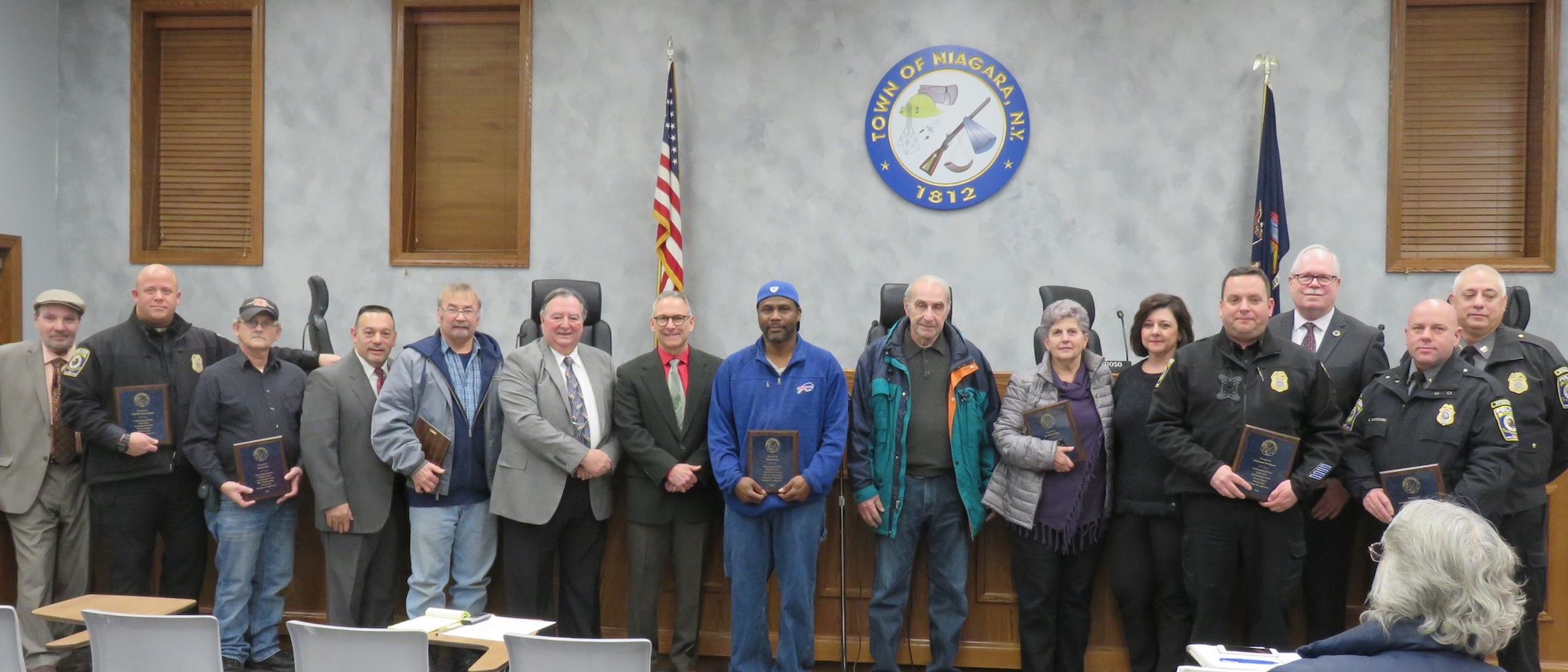 Pictured is the volunteers who were honored, along with the Town of Niagara Town Board at Tuesday's Town Board meeting.