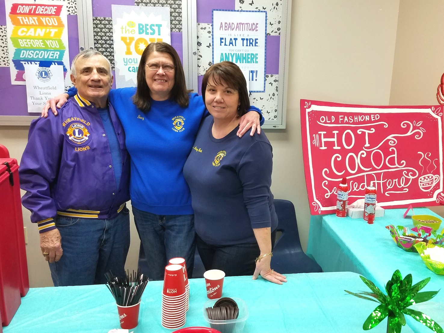 Lions Bill Ross, Nancy Rosie, Mary Beth Long (all pictured) and also Lions Walt Garrow (Wheatfield chapter president) and Roberta O'Toole helped serve hot cocoa to the Wheatfield Winterfest attendees. (Photos submitted by Justin Higner)