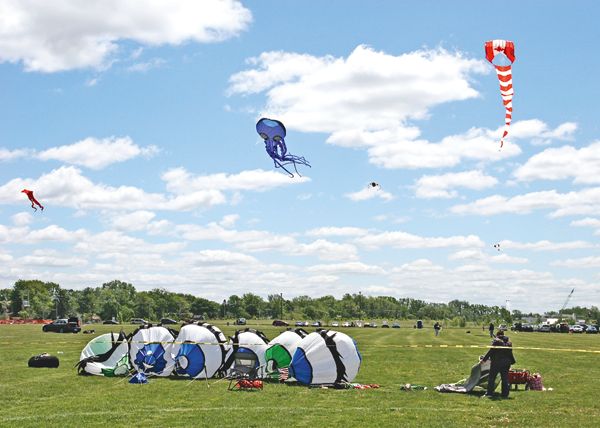 Shown is a scene from a previous `Come Fly a Kite for Homeless Veterans` event at Gratwick Riverside Park.