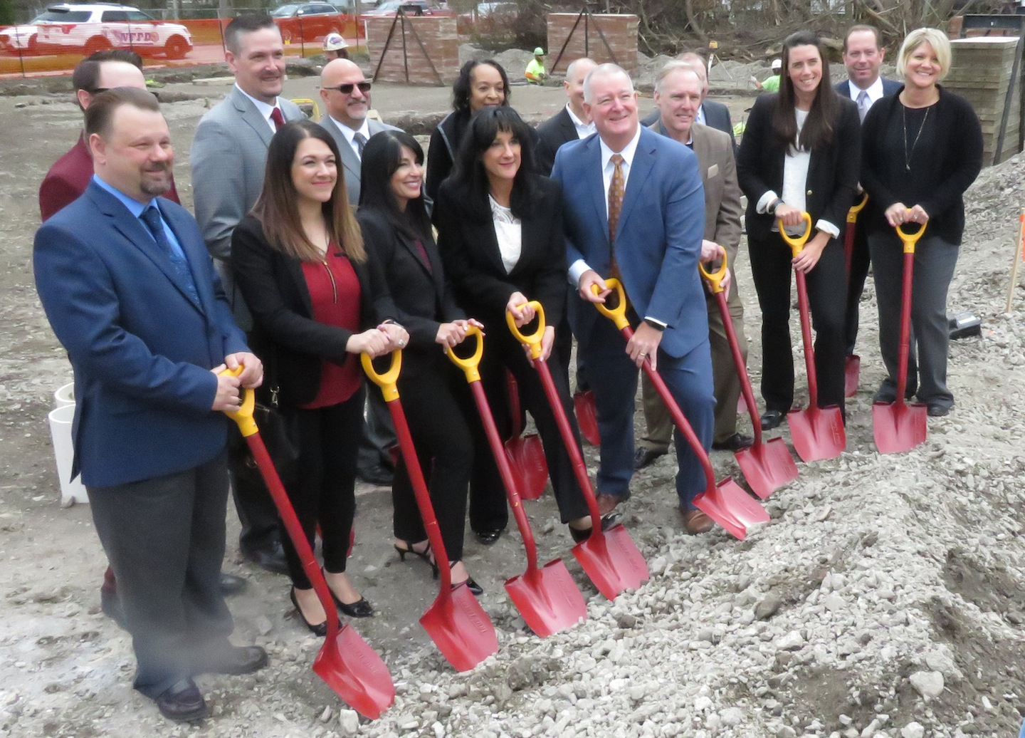 Officials of BankOnBuffalo break ground on a new permanent location at 7121 Niagara Falls Blvd. (Photos by David Yarger)