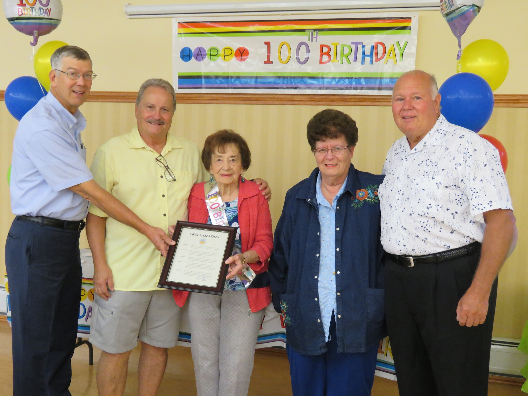 Pictured, from left, Wheatfield Councilman Larry Helwig, Roy Seiwell, Brifa Seiwell, Senior Director Arlene Mante and Wheatfield Councilman Gil Doucet. (Photo by David Yarger)