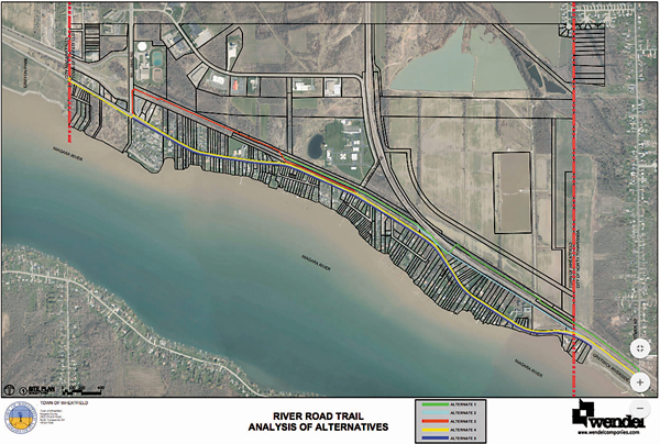 Pictured are the five different alternatives for a River trail that would run from Gratwick Park in North Tonawanda to the City of Niagara Falls line at 102nd Street.