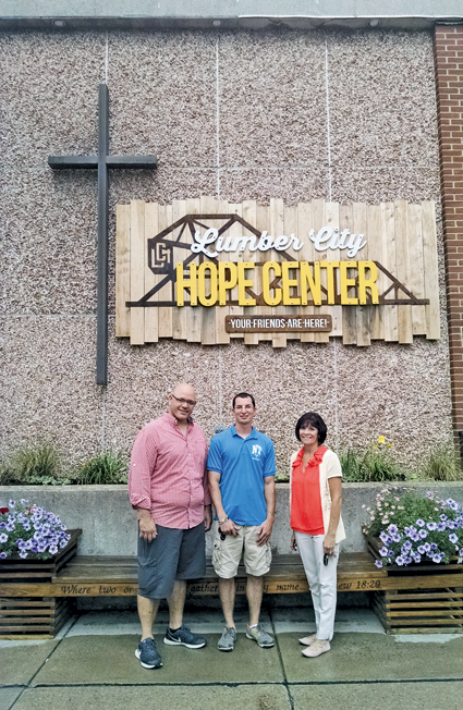 Standing in front of the Lumber City Church building (where North Tonawanda's new Youth Center will be housed) are, from left, the Rev. Chad Rieselman, North Tonawanda Youth Coordinator Alex Domaradzki and Department of Youth, Recreation and Parks Director Patty Brosius.