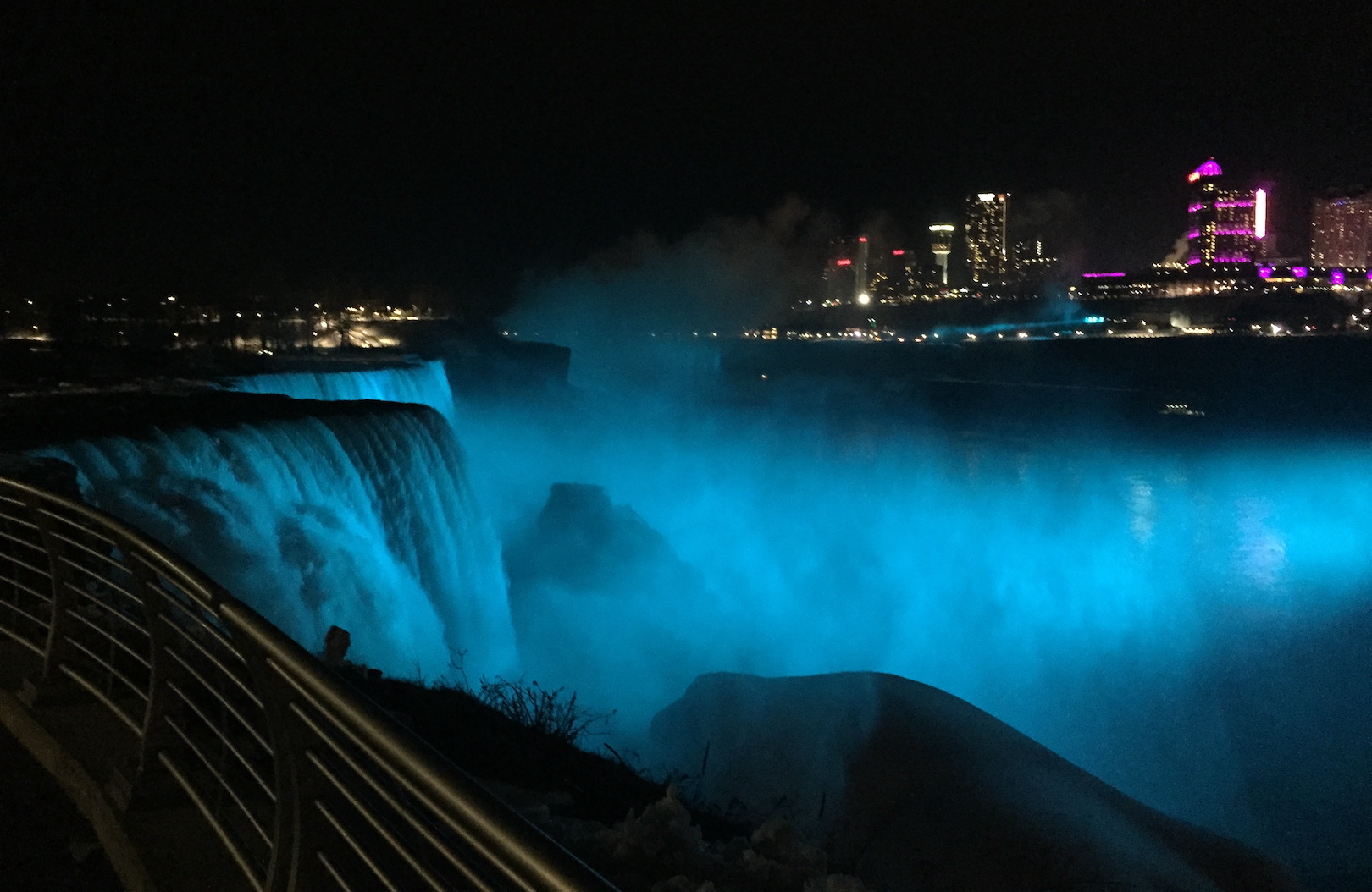 Niagara Falls is aglow in teal to mark World Lymphedema Day on March 6, 2018. The Falls and sites across the state again will be illuminated teal this March 6 to mark World Lymphedema Day 2020. (Photo by Patrick McPartland)