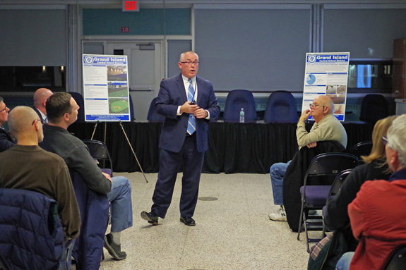 Grand Island Superintendent of Schools Dr. Brian Graham discusses the $24 million capital project proposal to residents during a public hearing Jan. 3. The project was approved by voters Tuesday. (Photo by Larry Austin)