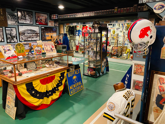 John Boutet of Grand Island has the largest Buffalo sports memorabilia collection in the area and with the help of friend and handyman Bill Gworek Jr. converted his entire basement into a museum. (Photo courtesy of John Boutet Collection)