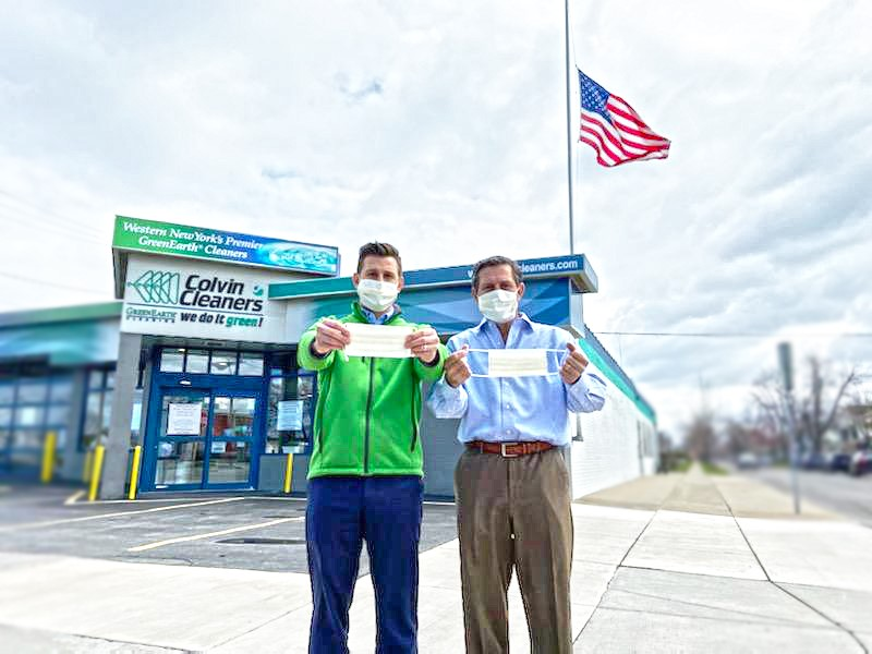 Colvin Cleaners Vice President Christopher Billoni, left, and President/CEO Paul Billoni in front of their store on Elmwood Avenue in Kenmore.