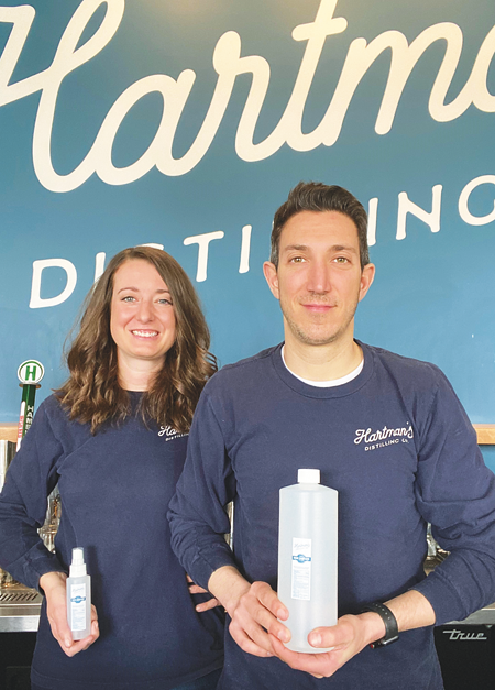Jen Hartman, left, and Justin, her husband and co-founder of Hartman's Distillery (Photo courtesy of Hartman's Distillery)