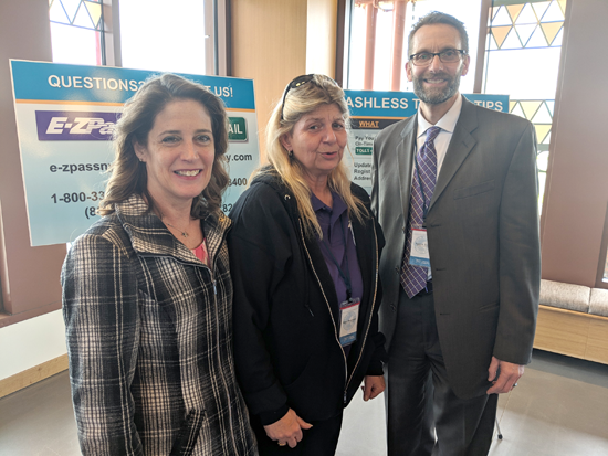 Grand Island Town Clerk Pattie Frentzel, left, is pictured with Mary Bruckman, toll plaza manager and an E-ZPass On-the-Go Representative, and Todd Gold, director/government relations, at the cashless tolling outreach event in the Western New York Welcome Center.