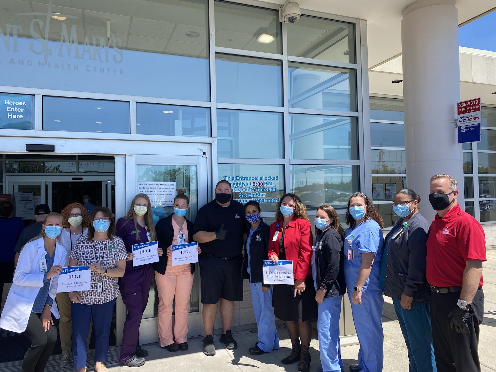 Mount St. Mary's Hospital and Fuccillo dealership employees on Grand Island after a donation was made at the Lewiston hospital. (Photos courtesy of Mount St. Mary's Hospital)