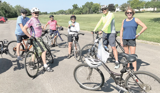 Members of the Grand Island Long Range Planning Committee and the Niagara River Greenway Commission joined for a bike ride on the Island. From left, Greenway's Greg Stevens, LRPC's Deborah Billoni, and Greenway's Michelle Lockett. (Photo by Michael J. Billoni)