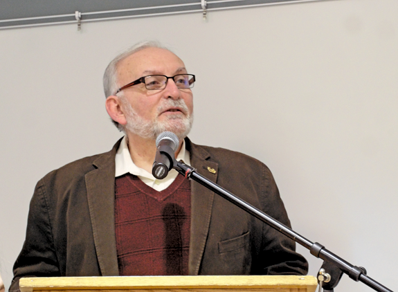 Dr. Joseph Gardella speaks to the Grand Island Board of Education Monday. (Photo by Alice E. Gerard)