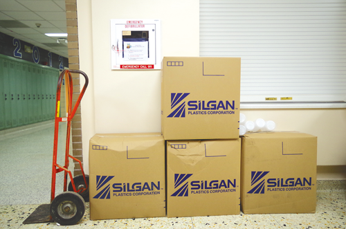 Boxes of personal protective equipment were delivered to the Grand Island Central School District this week for setup in classrooms in the district. (Photo by Larry Austin)