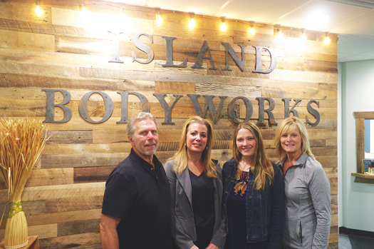 Russ Trunzo, Lisa Trunzo (owner/physical therapist), Elizabeth Smith (practice manager) and Lynn Nelson (physical therapy assistant) welcome patients to the new Island BodyWorks location at 2099 Grand Island Blvd. (Photo by Larry Austin)