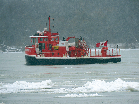 Pictured is the Niagara Queen II ice breaker boat in the Niagara River. (Photo by David Yarger)
