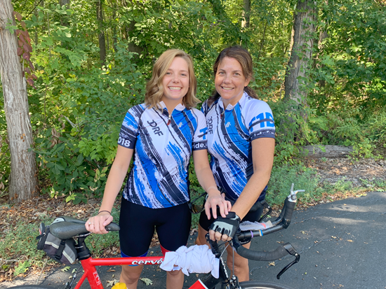 Carly and Bethany Bernatovicz train with JDRF Ride jerseys. The Islanders will take part in a 100-mile bike ride to benefit JDRF and its mission to support those with Type 1 diabetes like their cousin and nephew, Jay Kuehmeier, below.