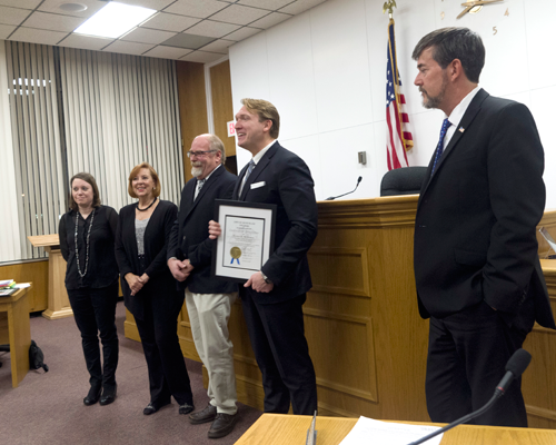 Town Supervisor Nathan McMurray speaks after receiving a certificate from the Town Board during the last meeting of 2019. McMurray, Councilwoman Bev Kinney and Deputy Supervisor Jim Sharpe were taking part in their last regular Town Board meeting before leaving office. (Photo by Larry Austin)