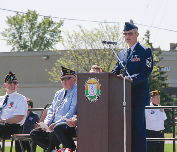 Master Sgt. George Smith gave the keynote speech at the town's Memorial Day ceremony. (Photo by Robert Haag)